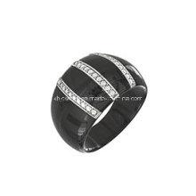 Anel de jóias de prata esterlina e cerâmica (R210049)