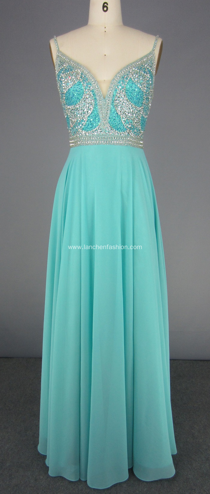 Spaghetti Strap Beading V-neck Backless Prom Dress