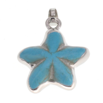 Wrapped Silver turquoise seastar pendant