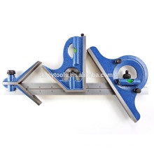 """4 piece combination machinist square with reversing protractor marked with 1/32"""", 1/64"""", 1/8"""", 1/16"""""""