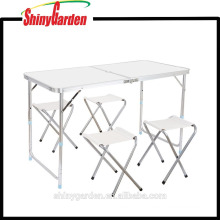 Height Adjustable Aluminum Camping Folding Table and 4 Folding Stools with Parasol Hole