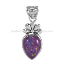 Diseñador de cobre púrpura turquesa piedras preciosas 925 colgante de plata sólida