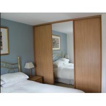 Puertas de madera compuestas con espejo de vidrio, puerta deslizante ampliamente utilizada para el dormitorio
