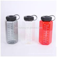 Botella de agua plástica de boca ancha Hexagonal Tritan 1000ml portátil