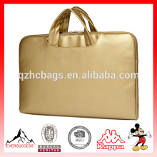 Canvaslife Gold Pu Leather Laptop Briefcas for Notebook Laptop Sleeve bag