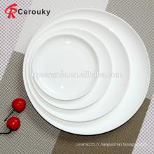 Plaque de céramique de 8 pouces en plaine blanche
