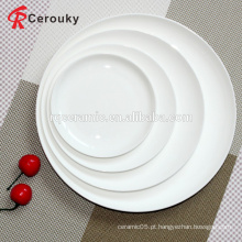 Placa de cerâmica lisa branca de 8 polegadas