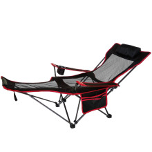 Mesh Lounge Reclining Folding Camp Chair with Footrest