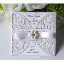 Заказ полые пригласительный билет для свадьбы ну вечеринку питания Бесплатная печать с жемчугом элегантный лук высокого качества ML276