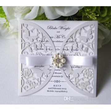 Custom Made Hollow Cartão de Convite para Wedding Party Fornecer Impressão Gratuita com Pérolas Elegant Bow High Quality ML276