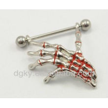 Newst design Skull hand nipple ring