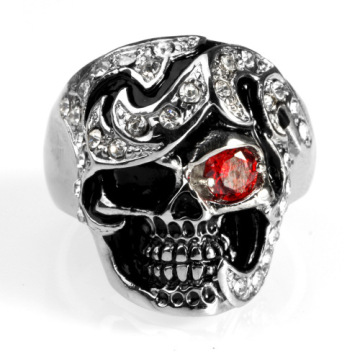 Black jewelry PVD plating small crystal skull ring