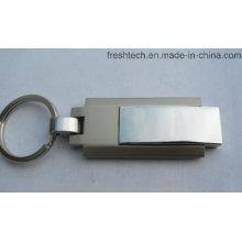 Venta caliente de metal Keyring giratorio USB Flash Drive (D309)