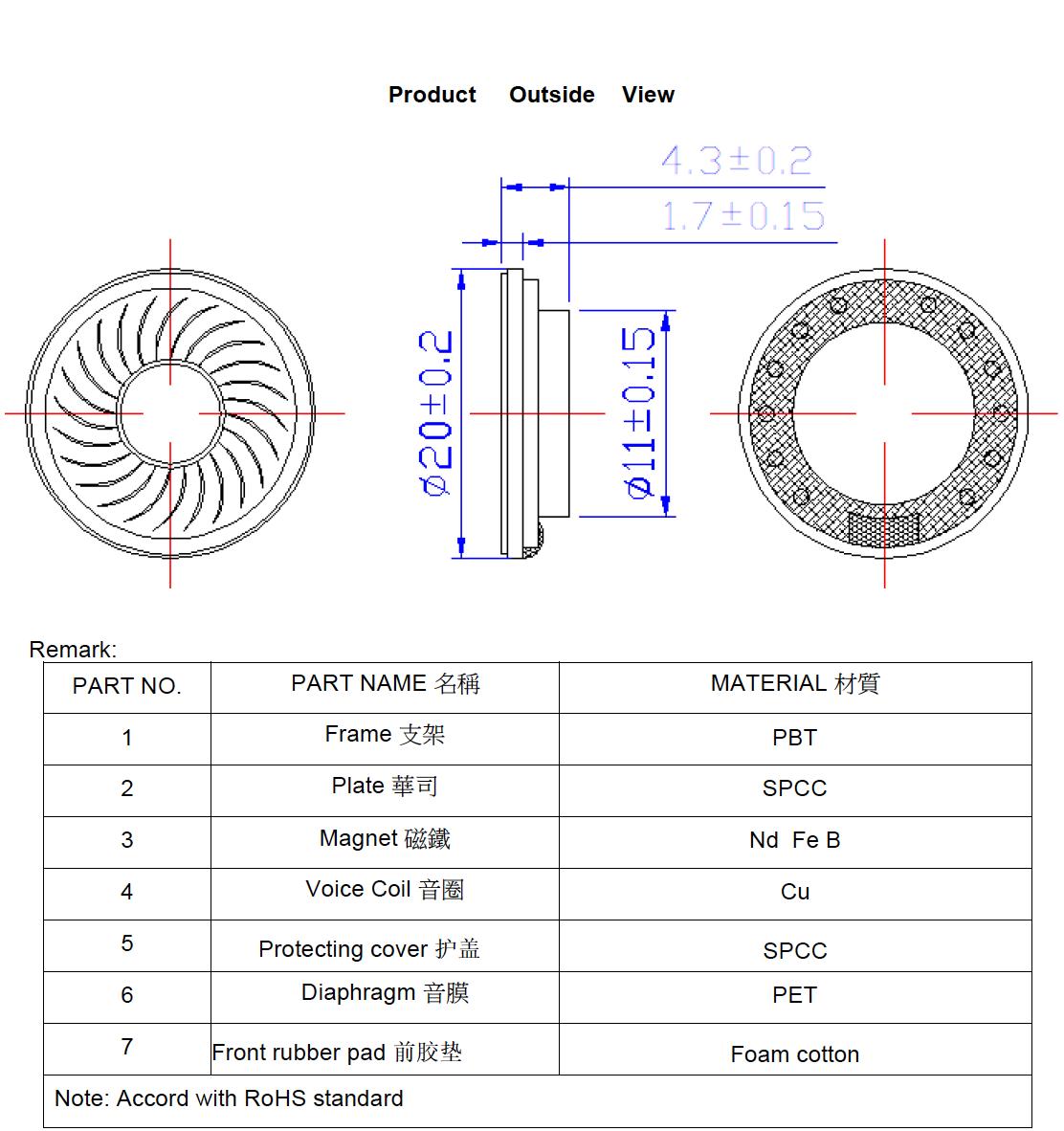 High Quality Diameter 20mm Mylar Speaker