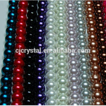 high quality shinning white color round glass pearl