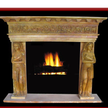 Lady Statue Surface Carved Yellow Marble Fireplace (SY-MF164)