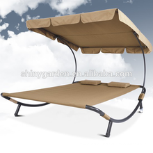 Patio Daybed Lounger Outdoor Double Sun Bed with Canopy Sun Shade and 2 Pillows,