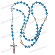 Fashion Handmade Crystal Beads Cord Rosary Necklace with Crucified Jesus