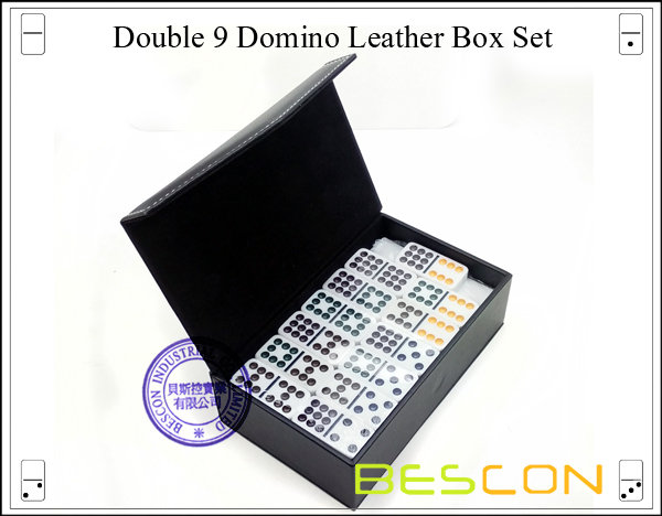 Double 9 Domino Leather Box Set-4