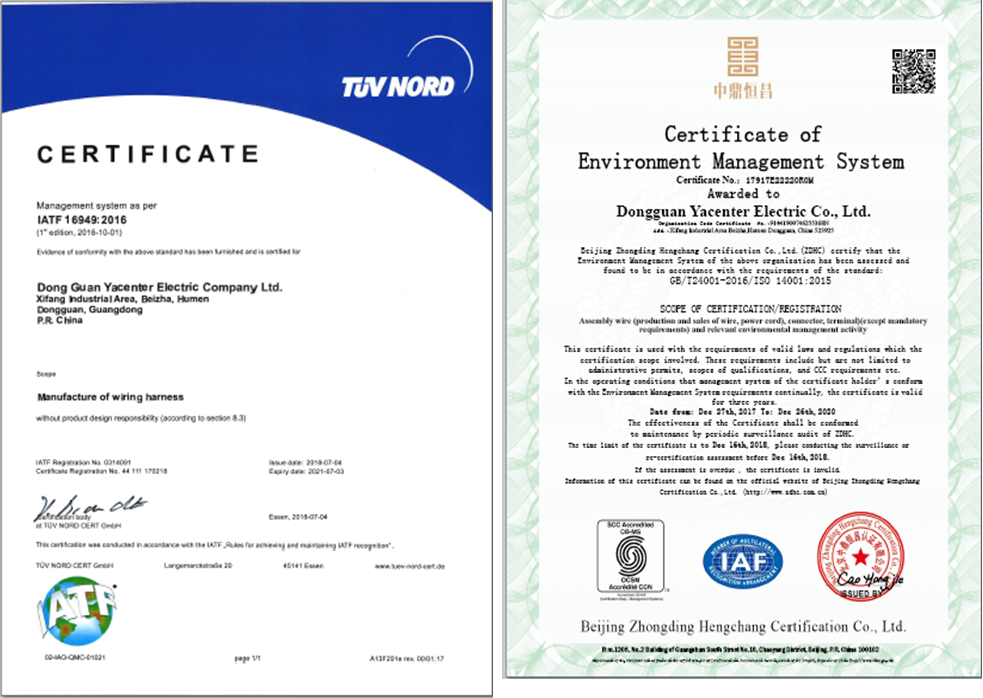 Automobile Wire Harness certificate