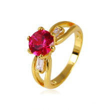 Xuping Fashion 24k Gold Plated Copper Ring with Bright CZ Stone