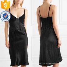 Correa de espagueti de cuello bajo de encaje negro Vestido de Midi de verano para la fabricación de la muchacha atractiva Ropa de mujer de moda al por mayor (TA0268D)