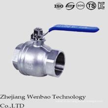 Válvula de bola flotante del acero inoxidable de 2PC Corea con la manija