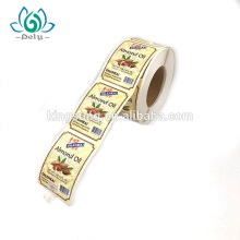 Private Design Printing selbstklebende wasserdichte Lebensmittel Vinyl benutzerdefinierte Aufkleber