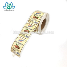 Diseño privado que imprime la etiqueta engomada adhesiva autoadhesiva del vinilo de la comida de la prenda impermeable