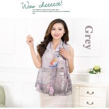 Lingshang magpie e flores impressão padrão fashion charmoso lindo fino macio longo lenço chiffon envoltura lenços xale