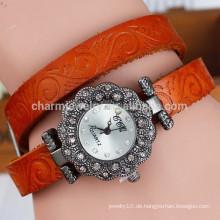 Neue Retro- Blume druckte Gurt Frauen Diamant-Zifferblatt Quarzuhr Mode Armbanduhr BWL016