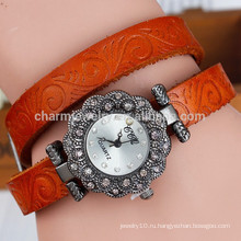 Новый ретро цветок печатных пояса женщин алмаз набора кварцевых часов моды браслет смотреть BWL016