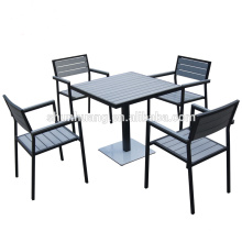 Garden patio dining sets plastic wood furniture chairs and square table 5pcs