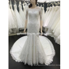 Fashion Design Mermaid Scoop Neck Floor Length Sweep Train Buttons Back Appliques Lace Wedding Dress Made in Turkey