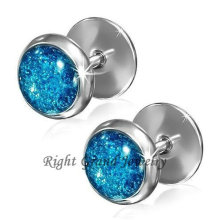 Surgical Steel Glitter Epoxy 10mm Fake Tunnel Plugs