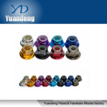 Customized M3 aluminum colored flange lock nut