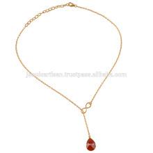 Neues Produkt 2017 Red Onyx Gold überzogen 925 Solid Silver Drop Einstellbare Halskette