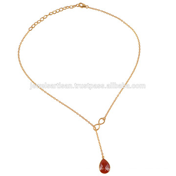 New Product 2017 Red Onyx Gold Plated 925 Solid Silver Drop Adjustable Necklace
