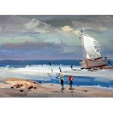 Pintura al óleo del barco del cuchillo