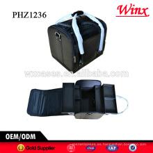 Promoción bolso cosmético del pvc con el patrón croco y 4 bandejas extraíbles dentro de