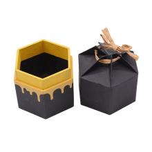 Custom Logo Size Black Matt Hexagon small gift Packaging Box With Ribbon