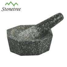 Ensemble de mortier et de pilon d'herbes / épices de granit de cuisine
