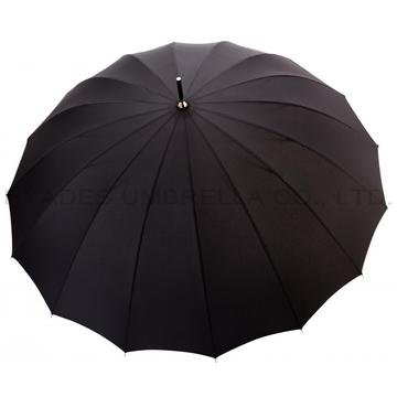 Black 16 ribs Strong Manual Open Straight Umbrella