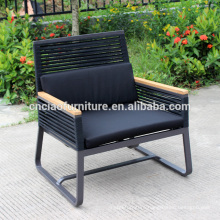 Modern metal patio chairs with teakwood arm and sling fabric