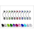 Multi Gem Ball Surgical Steel Eyebrow Ring