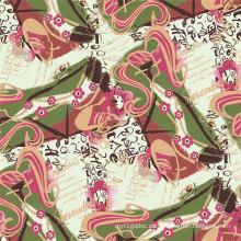 Hermoso diseño de tela de seda de impresión digital (XF-0004)