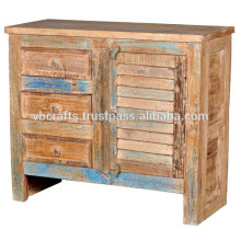 recycle wood cabinet with shutter panel and drawer