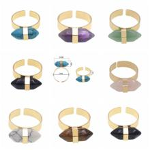 Plated Gold Natural Hexagonal Prism Gemstone Beads engagement rings for women