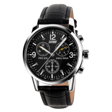 SKMEI 9070 Men Casual Leather Strap Wristwatch Japan Movement Waterproof Quartz Watches