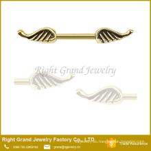 Acero quirúrgico ala del ángel pezón anillo Barbell escudo 14G boquilla anillo joyería